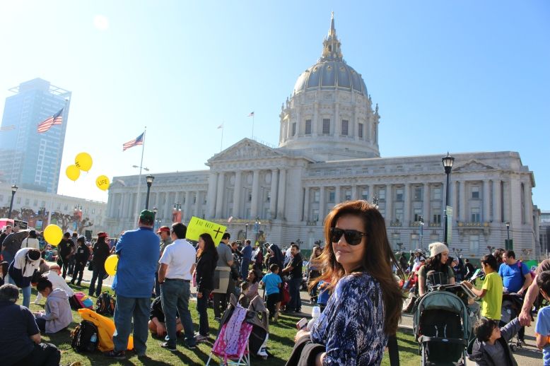 city capitol in middle of Pro-Choice protest