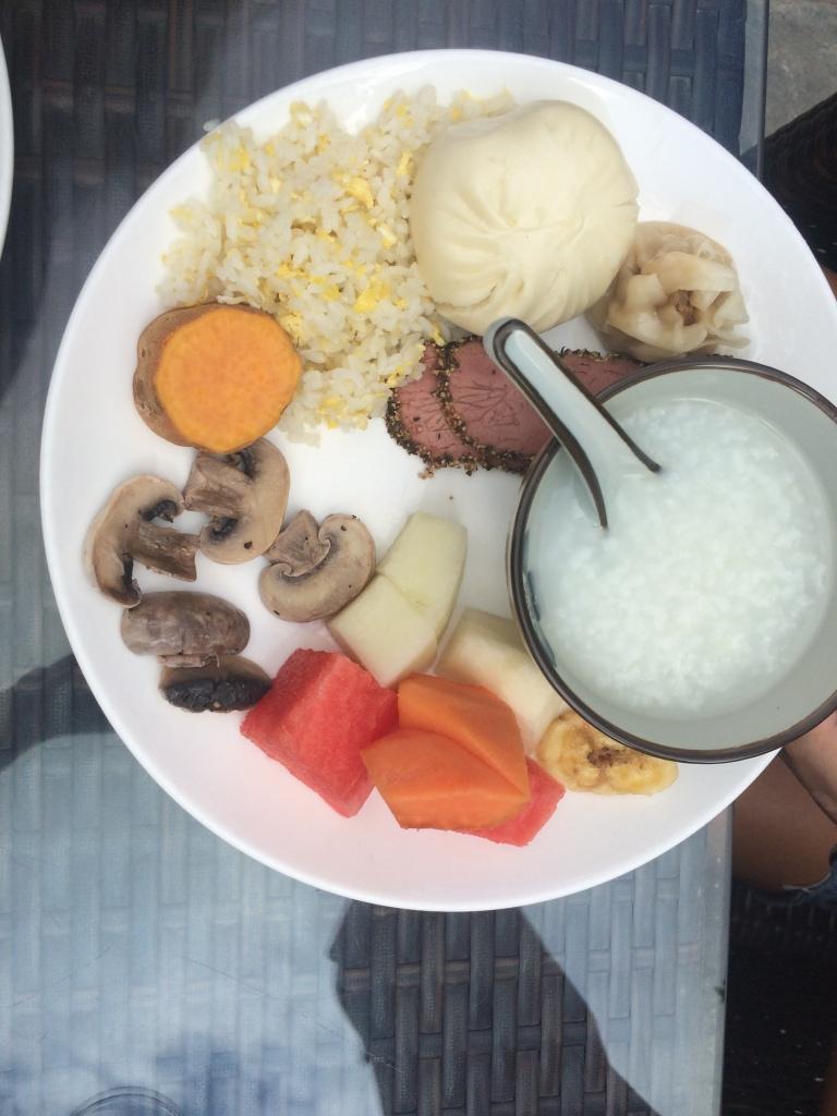 congee, bao, shomai, egg fried rice, yam